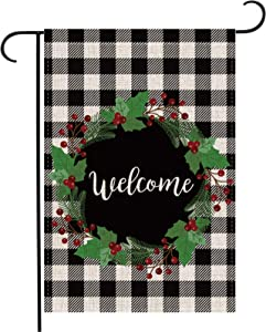 Pecsu Christmas Berry Wreath Welcome Garden Flag Vertical Double Sided, Home Farmhouse Outdoor Flag, Winter Holiday Christmas Burlap Yard Outdoor Decoration 12.5 x 18 Inch