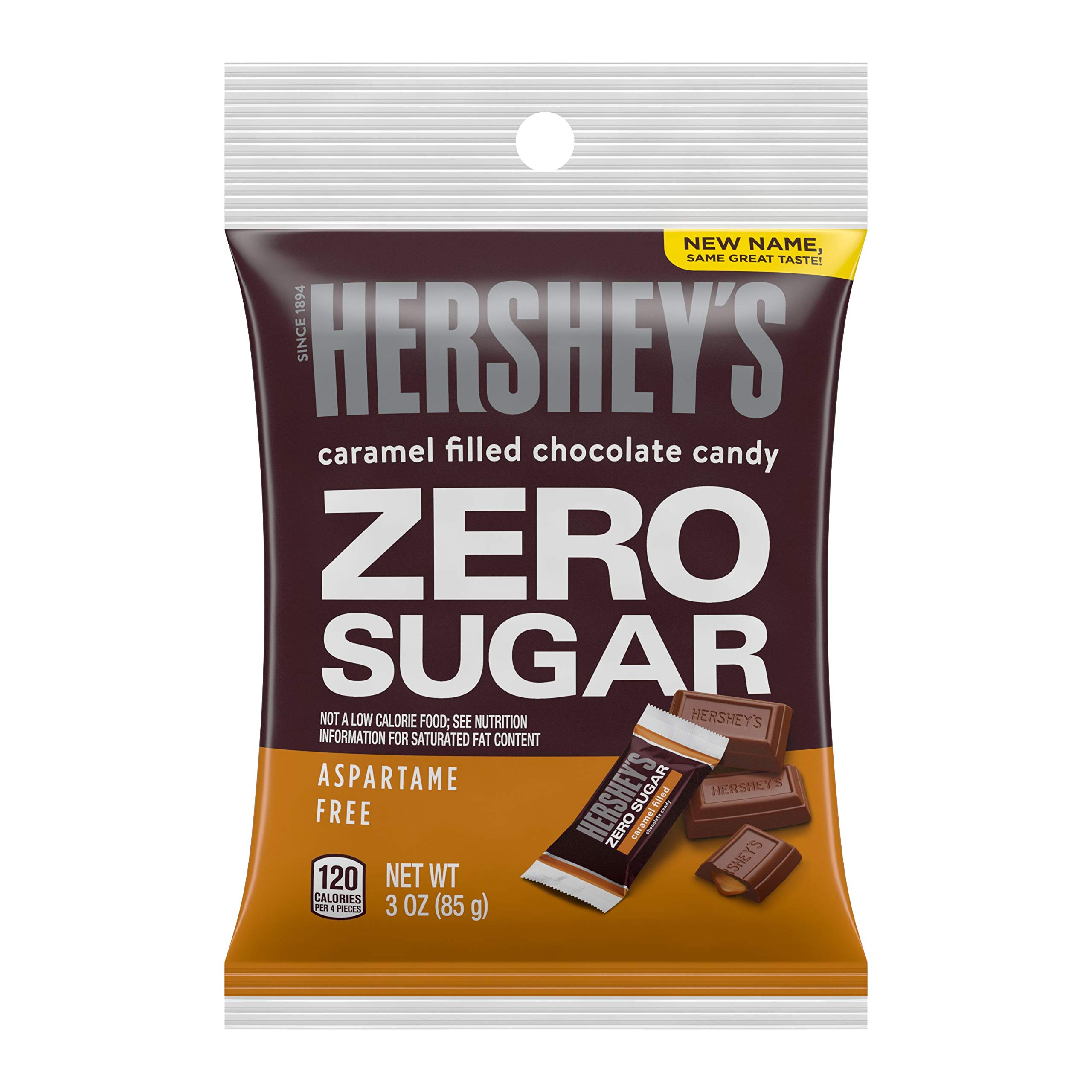 HERSHEY'S Chocolate Candy Bars, Sugar Free Caramel Filled, 3 Ounce (Pack of 12)