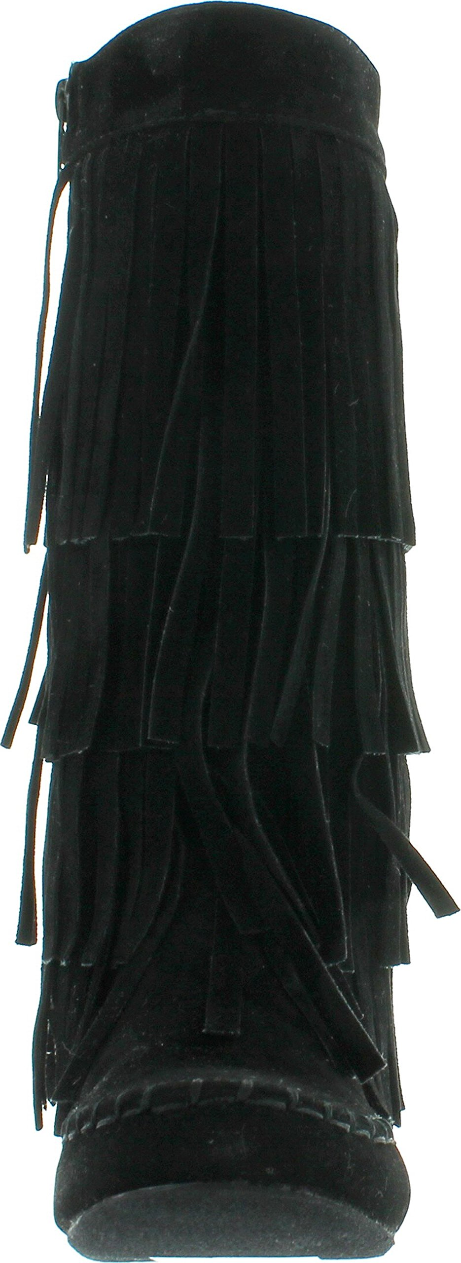 I LOVE KIDS Ava-18K Children's 3-Layers Fringe Moccasin Style Mid-Calf Boots,Black,13 by I LOVE KIDS (Image #3)