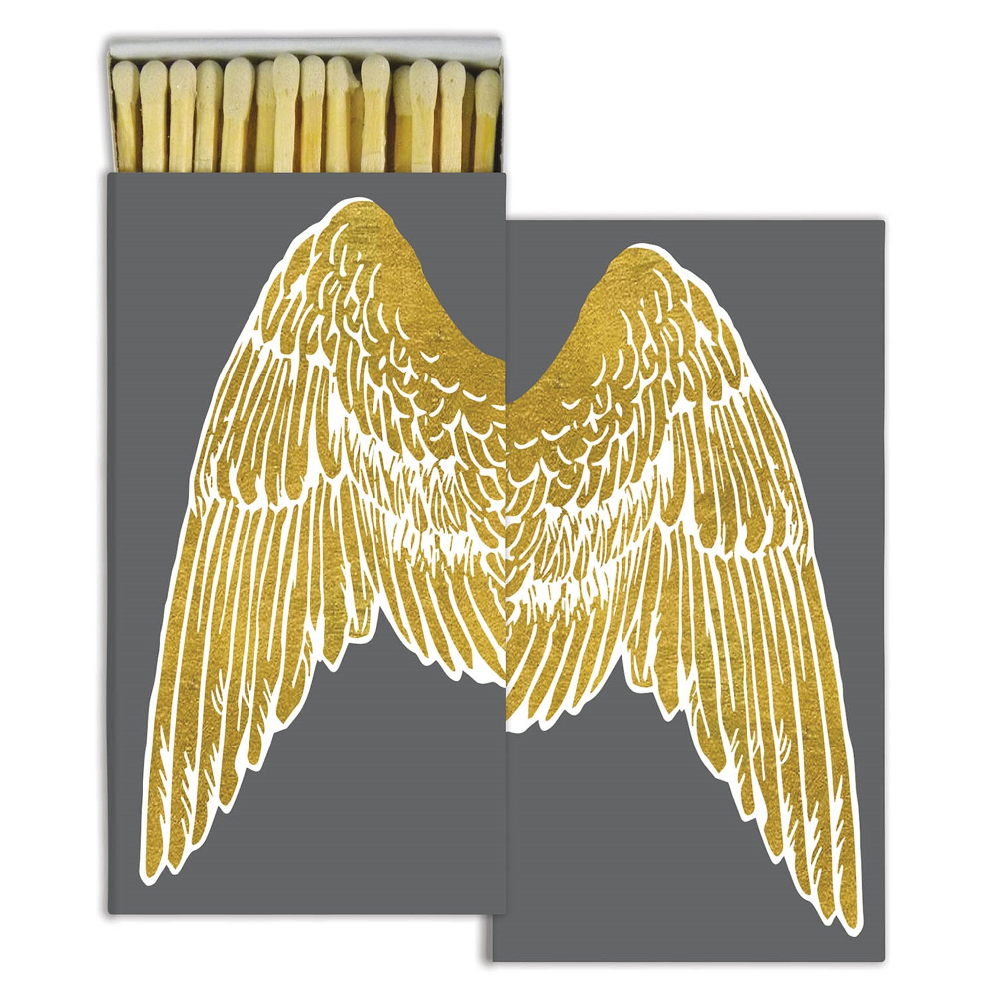 Gold Foil Wings Decorative Match Boxes with Wooden Matches (Set of 10)