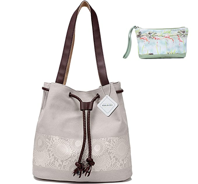 Amazon.com  WORLDLYDA Ladies Women Canvas Shoulder Bag Fashion Printing Tote  Handbags Daily Purse Beige …  Clothing 9afe91b953344