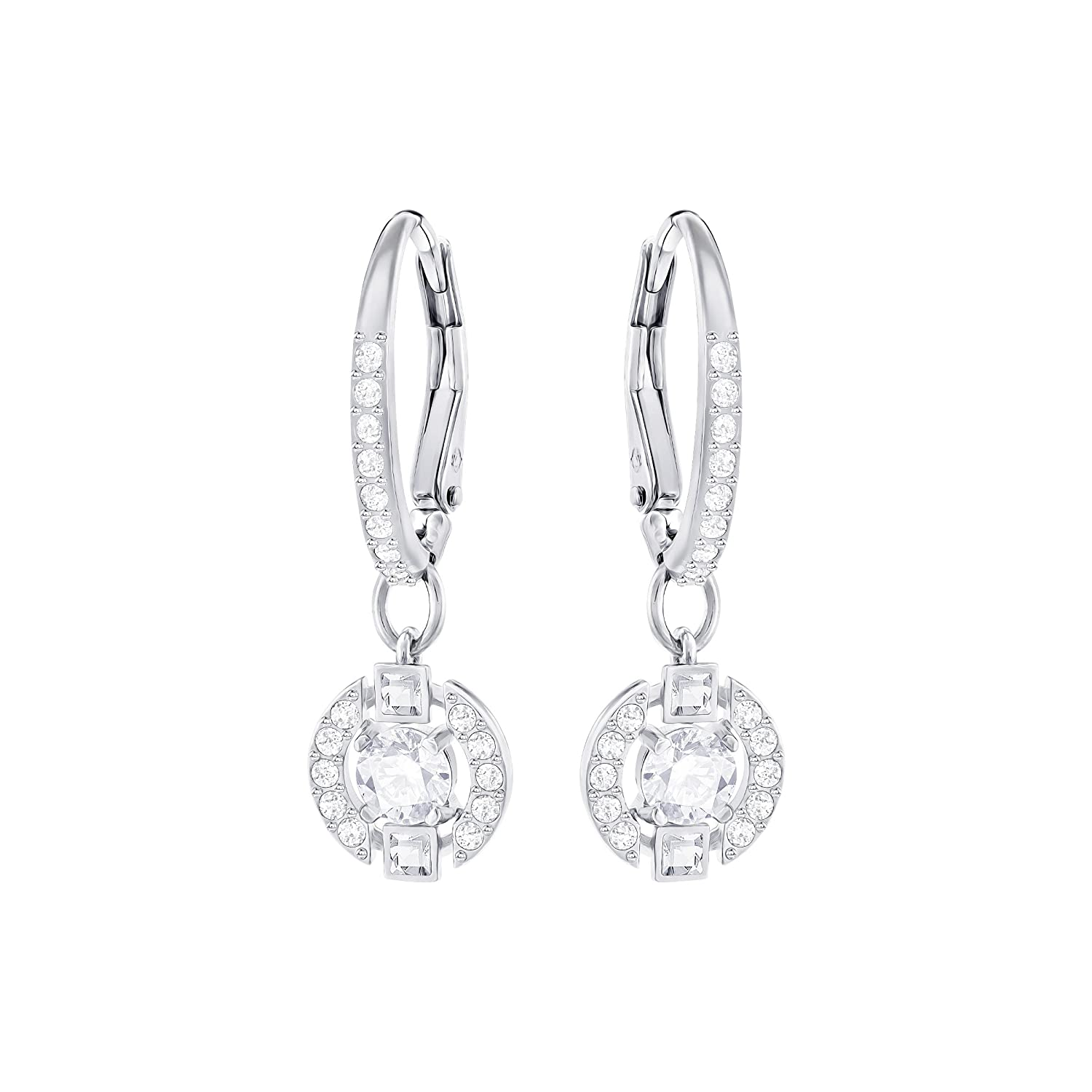 04039a56c Swarovski Women's Rhodium Plating and White Crystal Sparkling Dance Pierced  Earrings: Amazon.co.uk: Jewellery