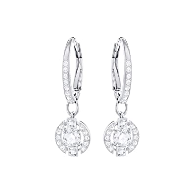 0959b6ac4 Swarovski Women's Rhodium Plating and White Crystal Sparkling Dance Pierced  Earrings