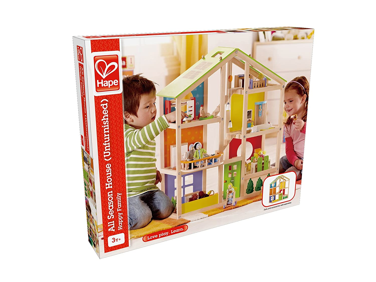 Seasons Mobel Design : Hape all seasons kid s wooden doll house unfurnished dollhouses
