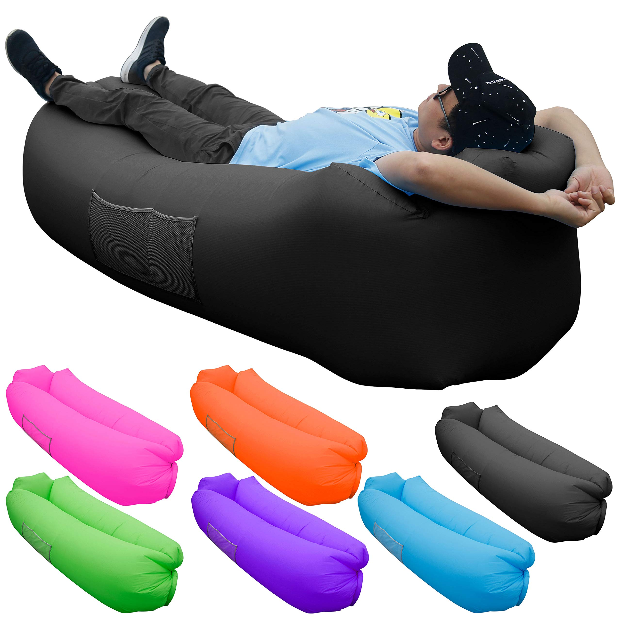 Skoloo Inflatable Lounger Air Sofa, Portable Water Proof Anti-Air Leaking & Pillow-Shaped Designed Couch for Backyard Pool Travel Camping Hiking Lakeside Picnics Music Festivals Beach Parties,Black by SKOLOO