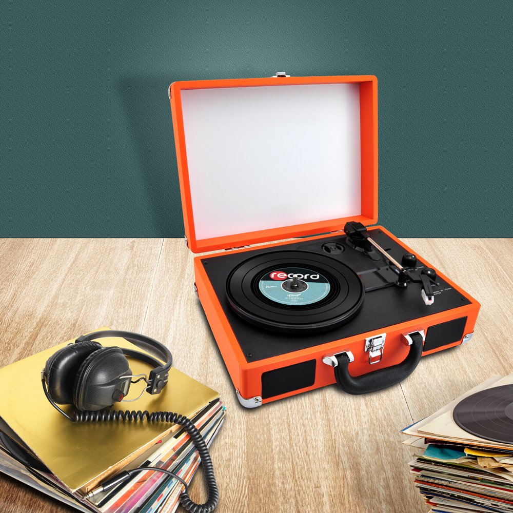 PYLE PVTTBT6OR Bluetooth Classic Vintage Style Vinyl Player Turntable, Vinyl-To-MP3 Record, Rechargeable Battery