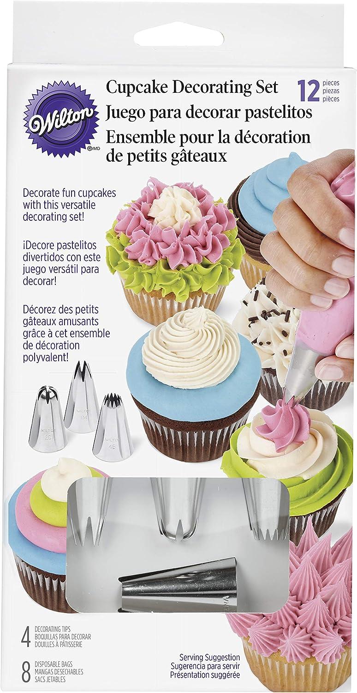Wilton Set de decoración para Cupcakes, 12 Piezas, Acero Inoxidable