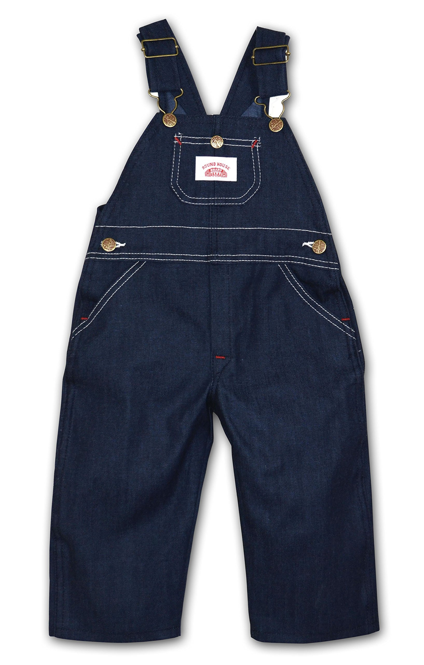 Round House Little Boys Bib Overall - Made in USA (Blue 5)
