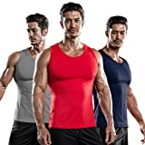DRSKIN 1~3 Pack Undershirts Running Shirt Tank Tops Men's Cool Dry Compression Baselayer Sleeveless (NM-TA-(B,G,R), 2XL)