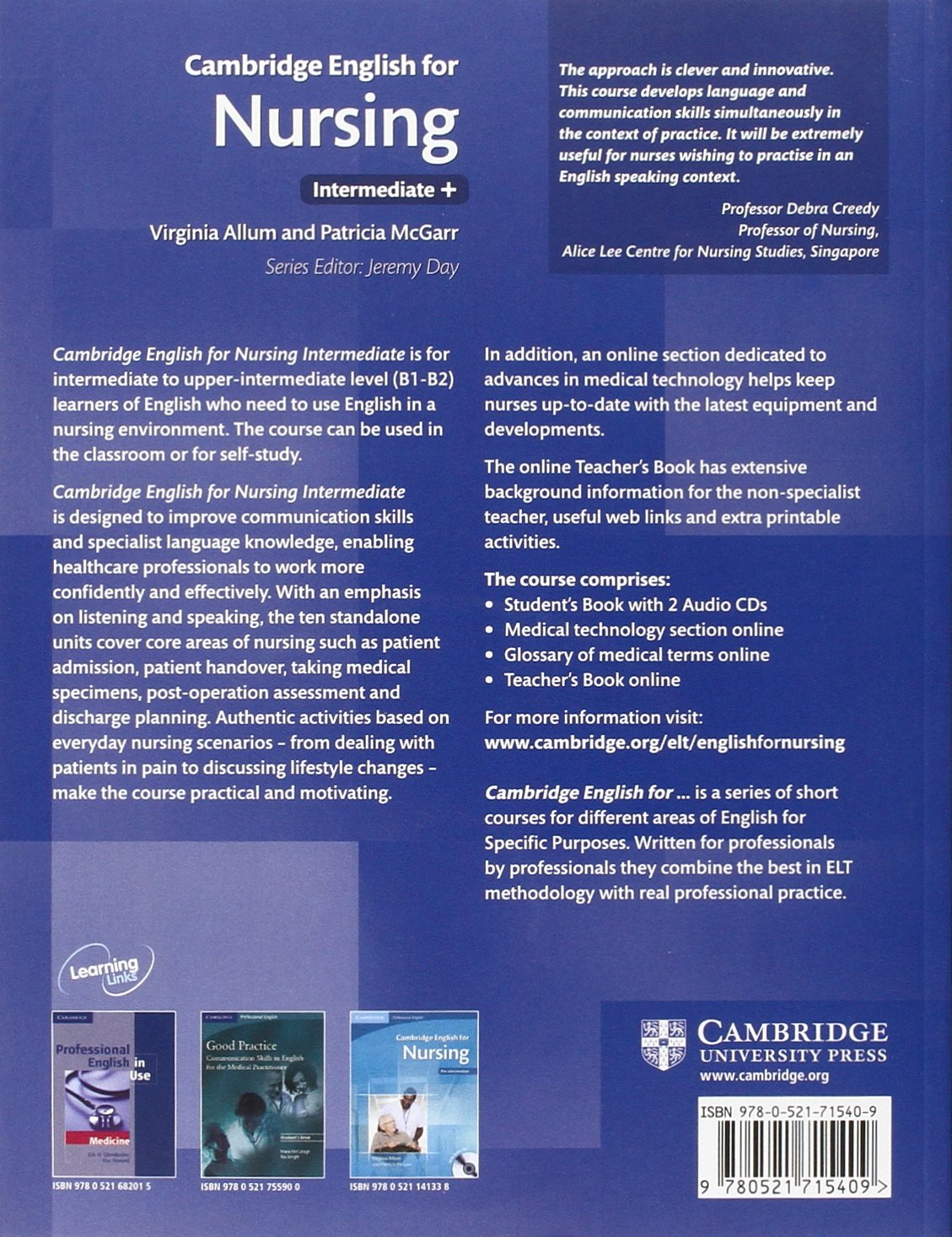 Cambridge English for Nursing Intermediate Plus Student's Book with Audio CDs (2) (Cambridge English for Series) by imusti