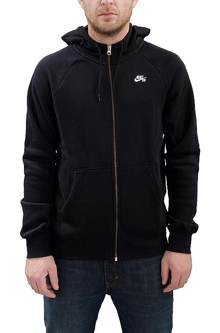 Nike SB Icon FZ Hoodie - Sudadera para hombre, color negro / blanco, talla