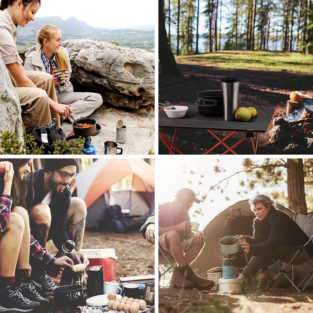 Set de Cocina para Camping de Aluminio anodizado Ligero Port/átil para Excursiones Viajes con Mochila y Actividades al Aire Libre Terra Hiker Utensilios de Cocina de Camping 10 Piezas