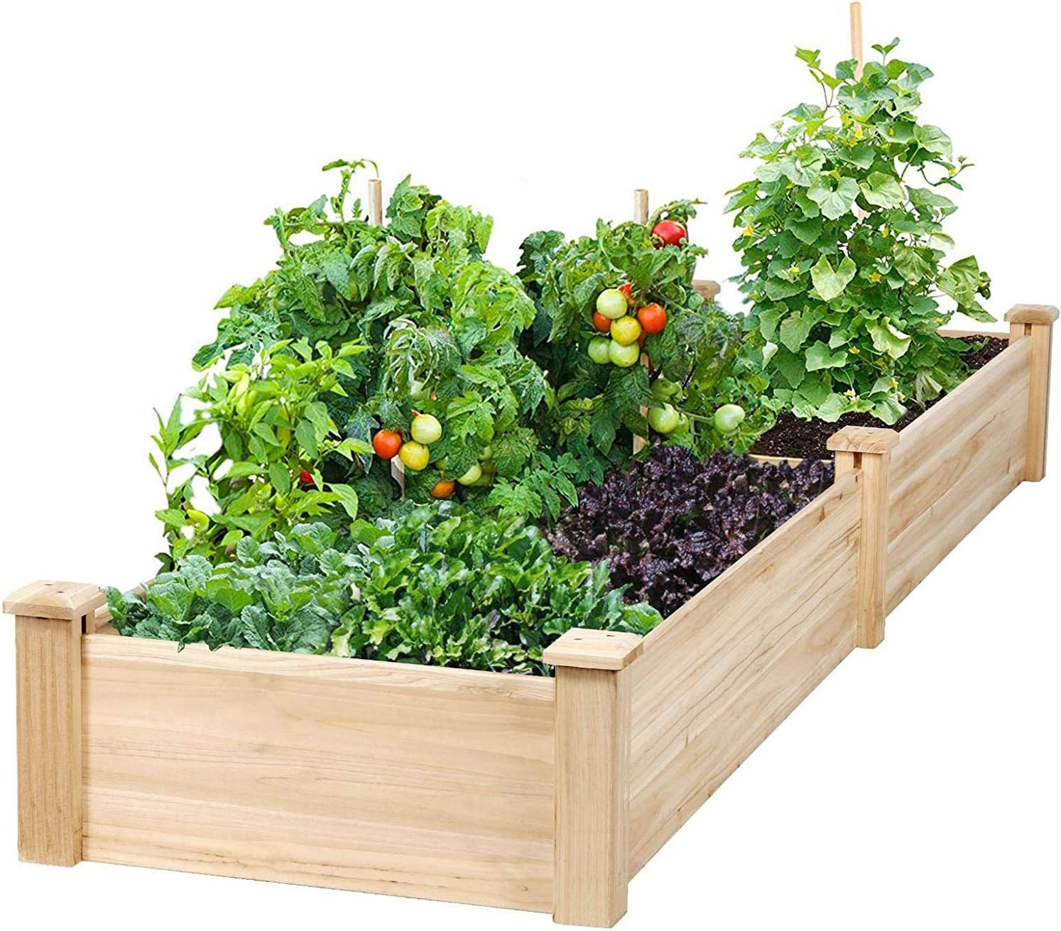 Incbruce 8ft Wooden Raised Garden Bed Planter, No-Bolt Assembly Elevated Flower Bed Boxes Kit for Vegetable Flower Herb Gardening, Natural