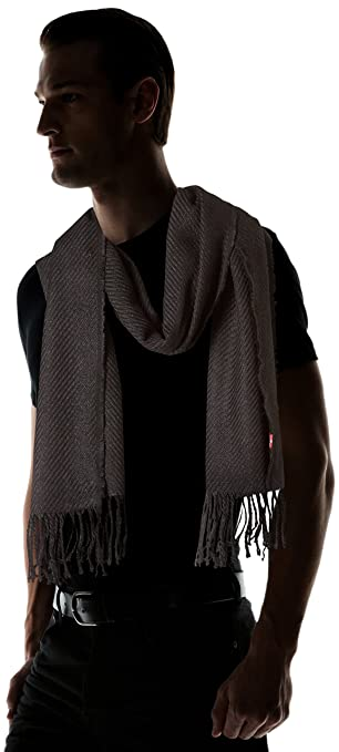 Levi s Men s Solid Twill Oblong Scarf, (Noir Regular Black 59), One (Size   UN)  Amazon.co.uk  Clothing 000f8a58984