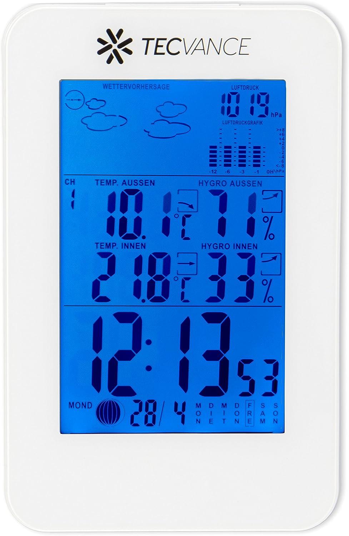 Funkwetterstation mit Farbdisplay Batterie Wetterstation funk in schwarz Innen- und Au/ßentemperaturanzeige Tecvance Wetterstation mit Au/ßensensor inkl
