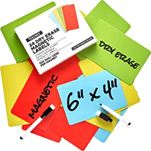 24 Dry Erase Magnets 6x4 inches by TeeChee + 2 Dry Erase Markers | Reusable Magnetic Labels for Homeschool, Office, Classroom, Household | Use on Whiteboards and Other Magnetic Surfaces