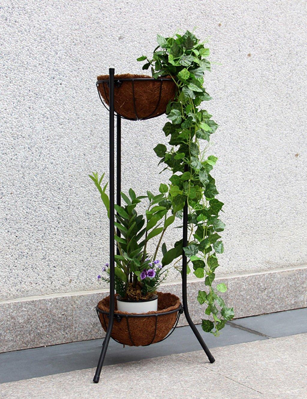 LB huajia ZHANWEI Blumenregal Im europäischen Stil Eisenboden 2-Ebenen Pflanzenträger Innen- und Außenanlagenregale (Farbe : SCHWARZ, größe : 39cm*85cm)