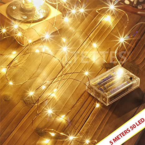 Ltettes 5 Meters 50 Led Copper String Lights Battery Powered Portable Led String Lights Fairy Star String Lights For Diwali Christmas Home Decor Glass