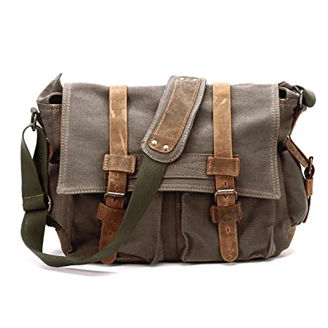 54d2171c01 Image Unavailable. Image not available for. Color  Men s Vintage Canvas  Leather Satchel School Army Shoulder Bag Messenger Bag