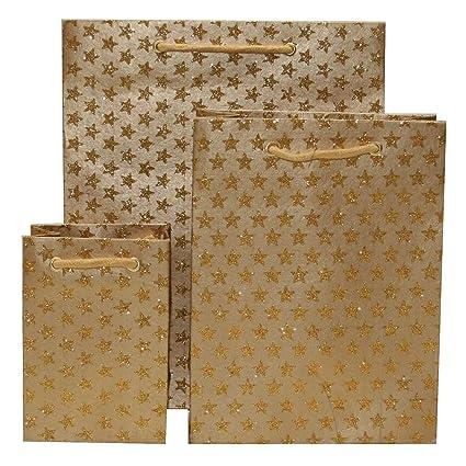 Bolsas de regalo pequeñas de estrellas doradas con purpurina ...