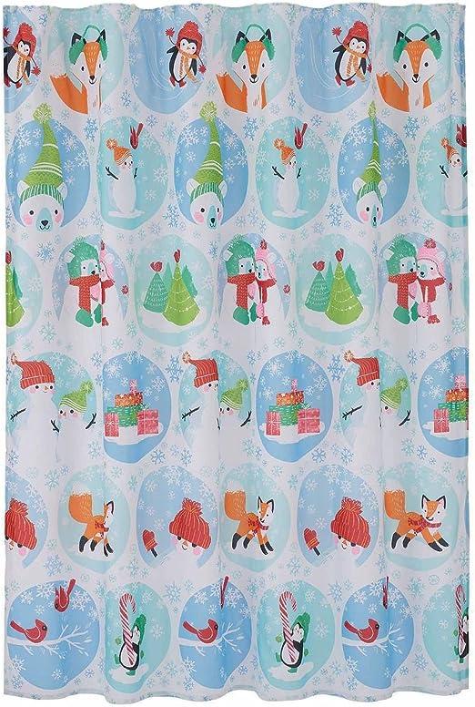 Christmas St Nicholas Square Farmhouse Winter Snowman Fabric Shower Curtain