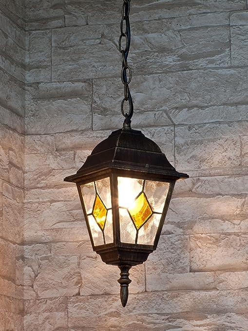 Lámpara de techo colgante para exterior de estilo clásico / oro antiquo / IP43 8184n