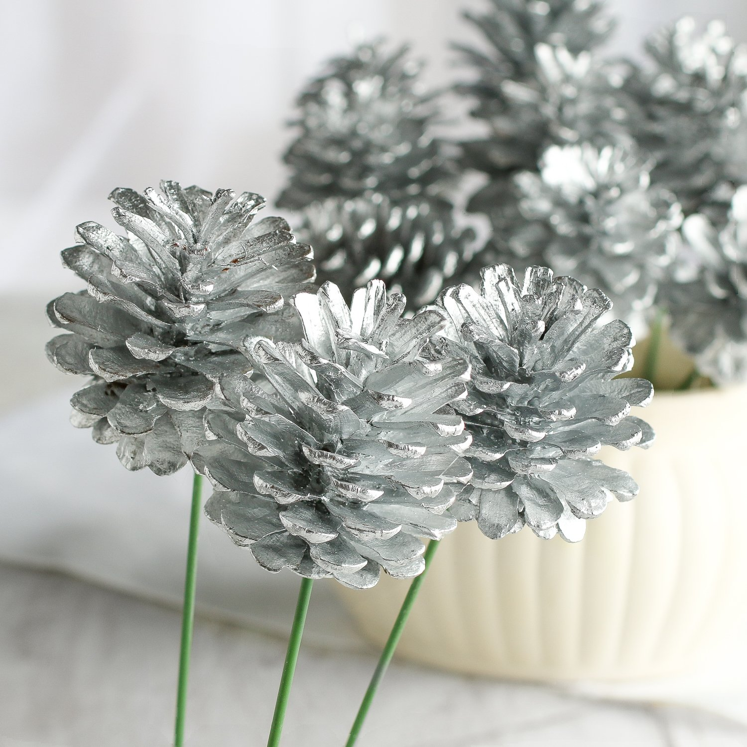 Silver Painted Natural Pinecone Picks Set of 12 | ChristmasTablescapeDecor.com