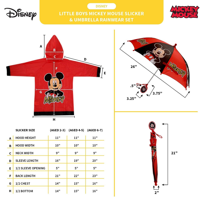 Disney Little Boys Mickey Mouse Slicker and Umbrella Rainwear Set