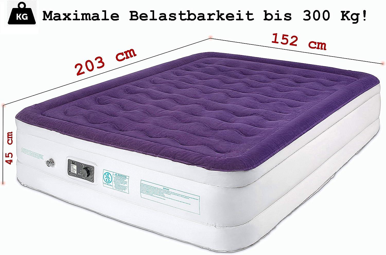 Colch/ón de aire para 2 personas colch/ón de aire con bomba para acampar colch/ón de aire de 140 x 200 cm cama de aire de tama/ño queen 203 x 152 x 45 cm cama de aire para invitados