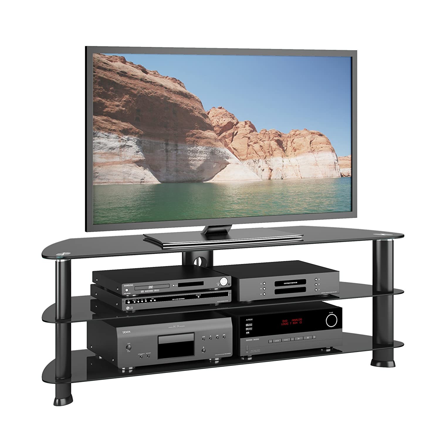 60 Tv Entertainment Center Part - 26: Amazon.com: CorLiving TRL-501-T Laguna Stand For TV Up To 60-Inch, Satin  Black: Kitchen U0026 Dining