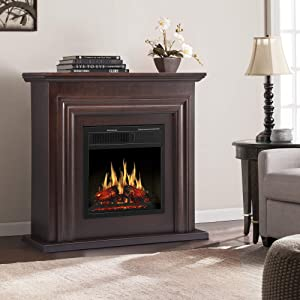 JAMFLY Electric Fireplace with Mantel Package Freestanding Fireplace Heater Corner Firebox with Log & Remote Control, 750-1500W, Brown