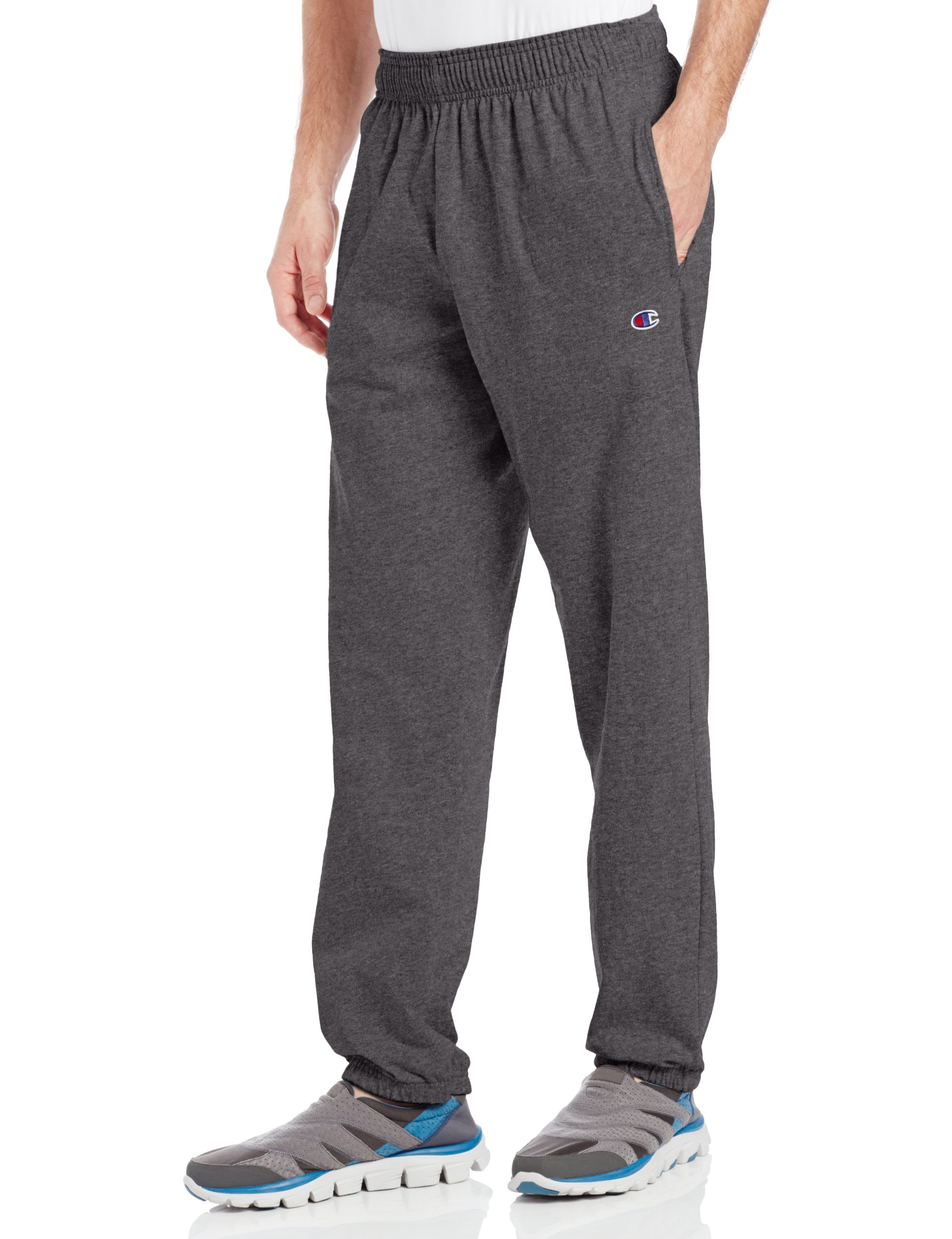 Champion Men's Closed Bottom Light Weight Jersey Sweatpant, Granite Heather, Medium by Champion