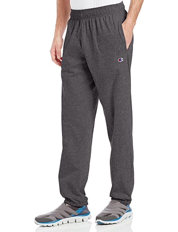 Champion Men's Closed Bottom Light Weight Jersey Sweatpant, Granite Heather, Large best men's sweatpants