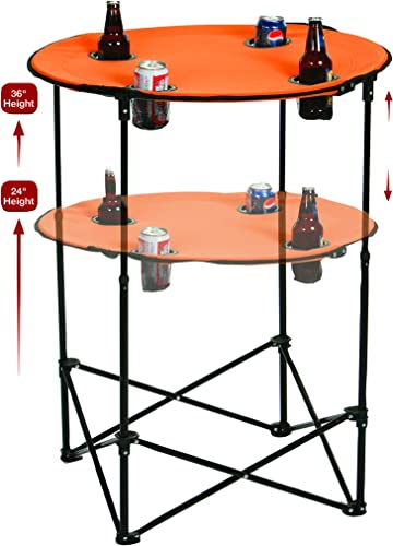 Picnic Plus Portable Round Tailgate Table Extends from 24 to 36