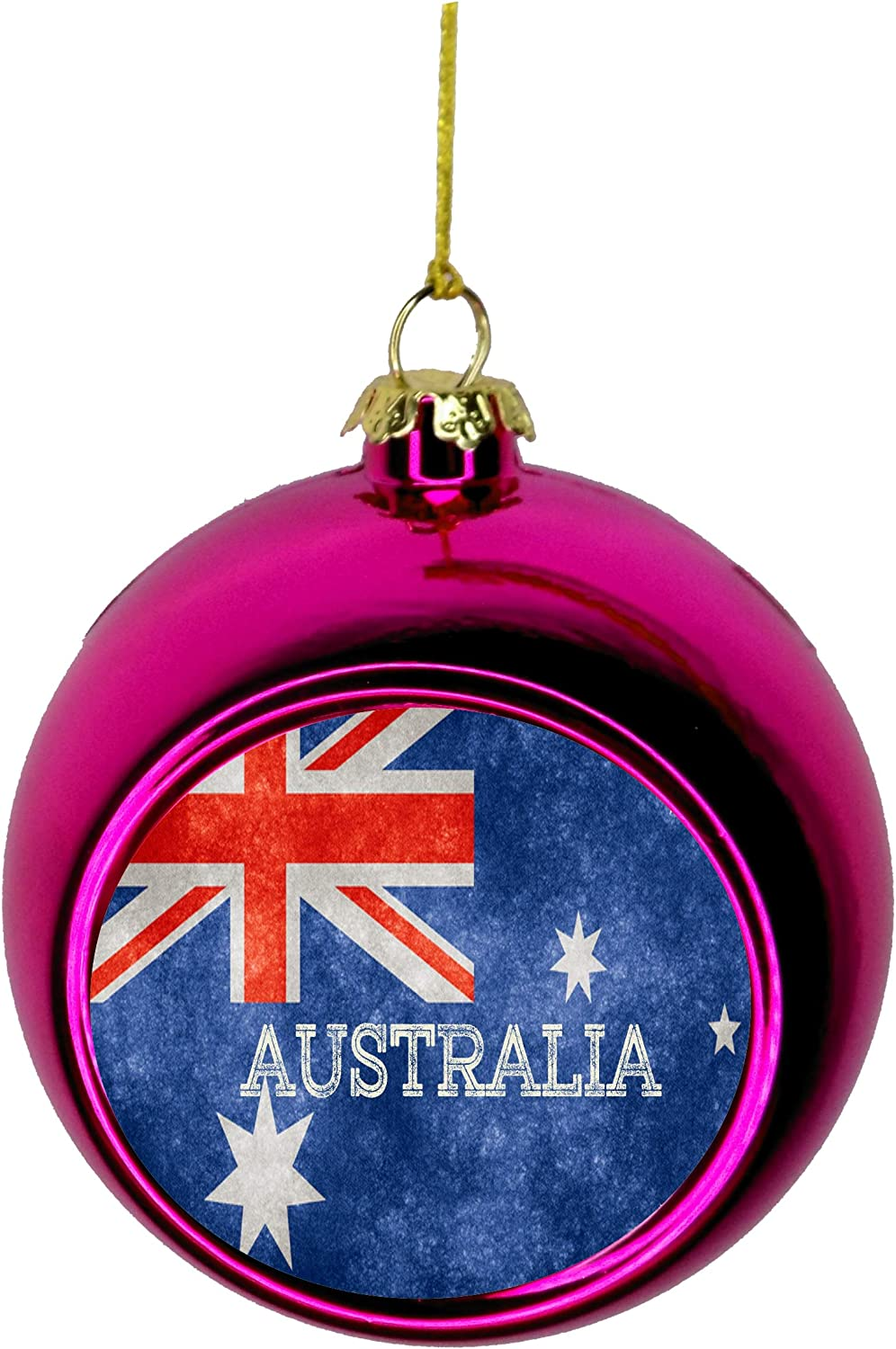 Amazon Com Rosie Parker Inc Flag Australia Australian Grunge Flag Bauble Christmas Ornaments Pink Bauble Tree Xmas Balls Home Kitchen