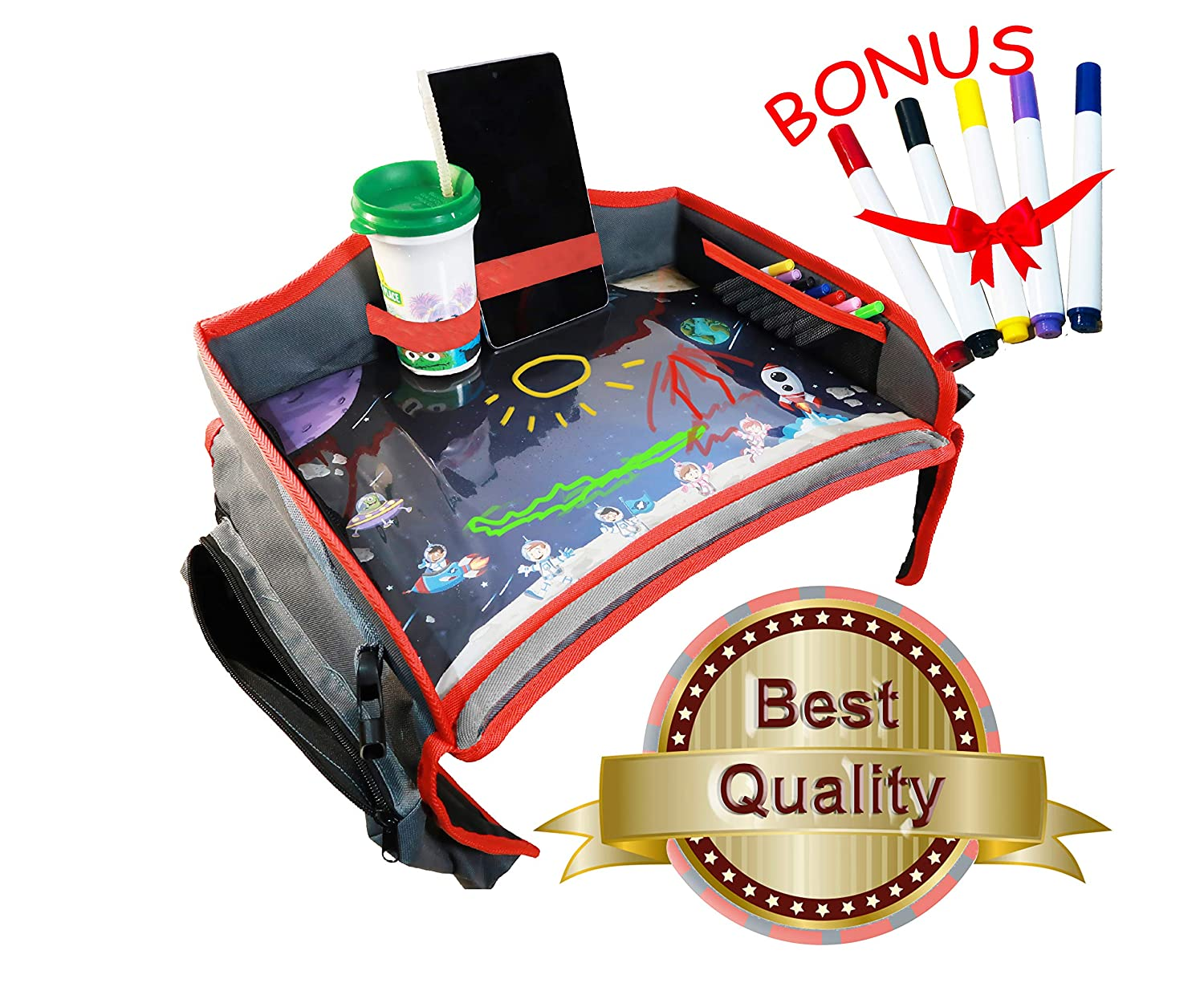 Toddler Car Seat Travel Tray. Kids Travel Tray with Erasable Surface, Side Pockets and Wet Wipe for Any Car Seat, Stroller, Airplane and High Chair by Little Explorer Made In China