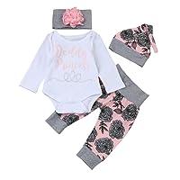 Babykleidung Loveso Sommerkleider Herbst Kleidung Daddy's Girl Elk Elch Muster Baby Mädchen Haarband Top Hosen Set Langarm Shirt (0-24 M)