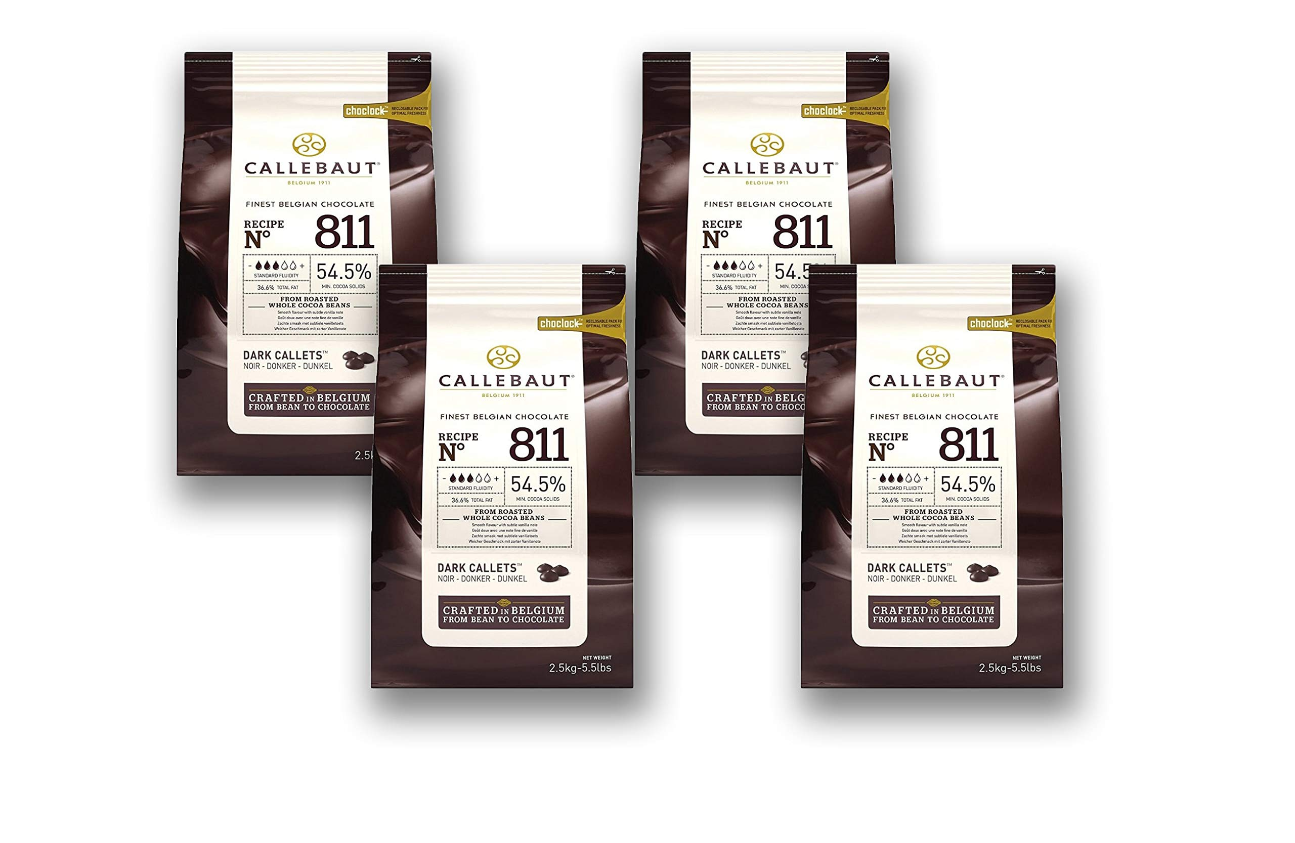 Callebaut Couverture Cacao Dark Baking Belgian Semisweet Chocolate Callets 4 pack. 54.5% Cacao. Recipe N811. (5.5 Lbs x 4; 10 kg)