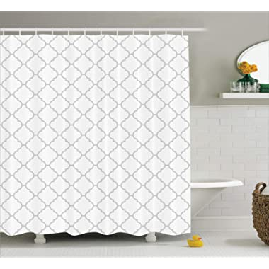 Ambesonne Grey Shower Curtain Decor, Simple Monochrome Patterns Geometric Linked Forms on Plain Background Modern Figures Print, Polyester Fabric Bathroom Set, 75 Inches Long, White Gray