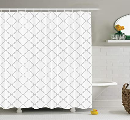 Ambesonne Gray Shower Curtain Grey Decor Simple Monochrome Patterns Geometric Linked Forms On Plain Background