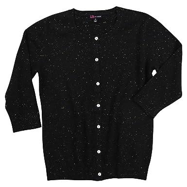 5d8997d386e72b Urban Boundaries Women's 100% Cashmere 3/4 Sleeve Crew Neck Cardigan Sweater  (Black