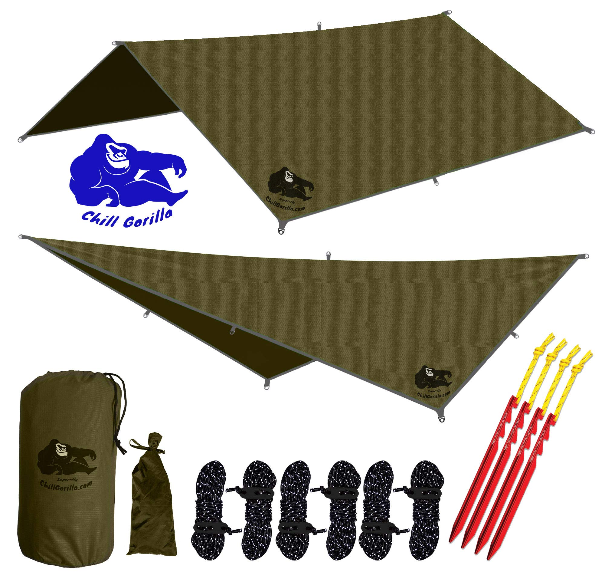 Chill Gorilla 10x10 Hammock Rain Fly Camping Tarp. Ripstop Nylon. 170'' Centerline. Stakes, Ropes & Tensioners Included. Camping Gear & Accessories. Perfect Hammock Tent. OD Green by Chill Gorilla
