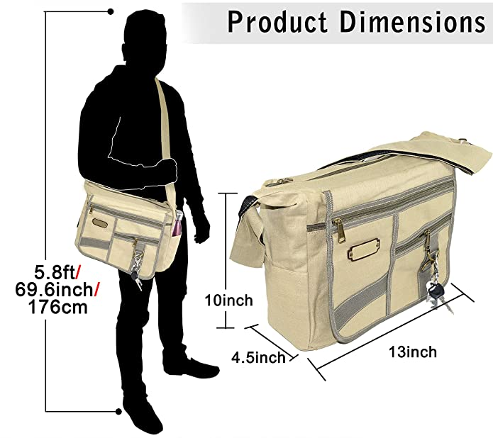 d384a43a26be NISUN Imported Jeans Cross Body One Side Bag For Travel College Office  13x4.5x10 inch Beige  Amazon.in  Shoes   Handbags