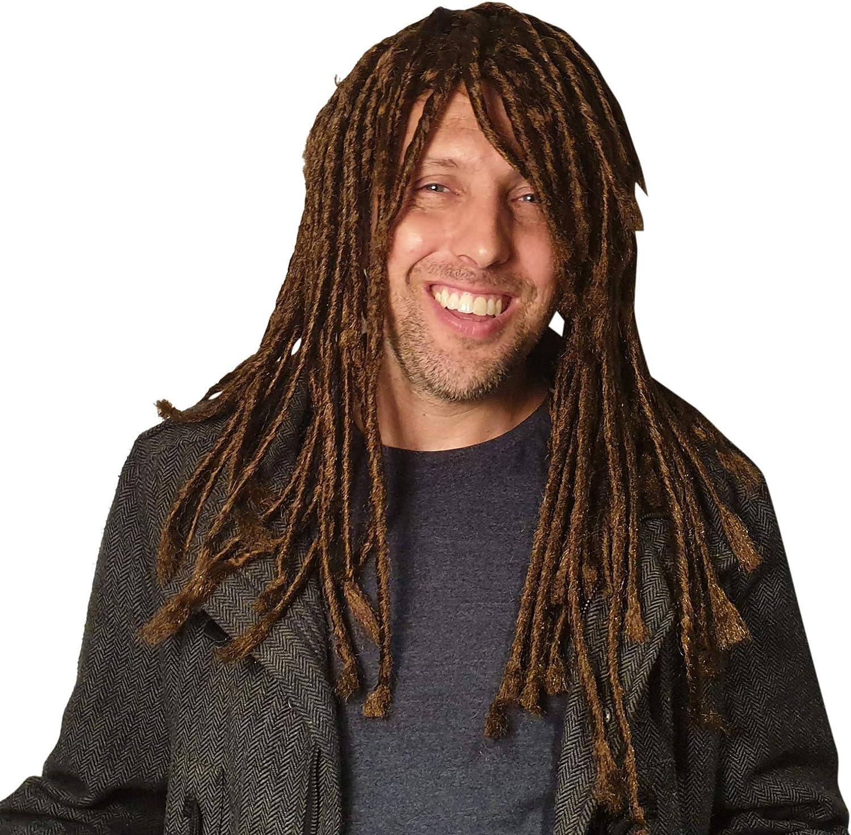 Amazon Com Dreadlock Braided Wig For Men Hippie Gangster Beach Bum Reggae Rasta Man Homeless Dreads Dark Brown Costume Clothing