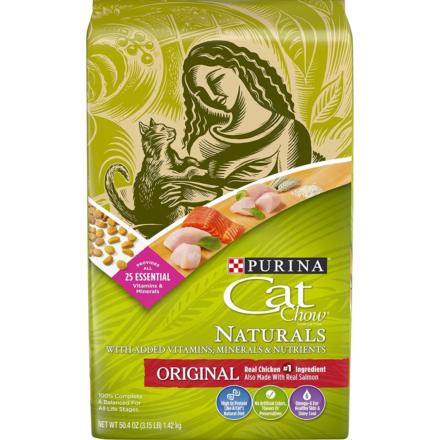 Purina Cat Chow Naturals Dry Cat Food, Original With Real Chicken, 3.15 Lb Bag