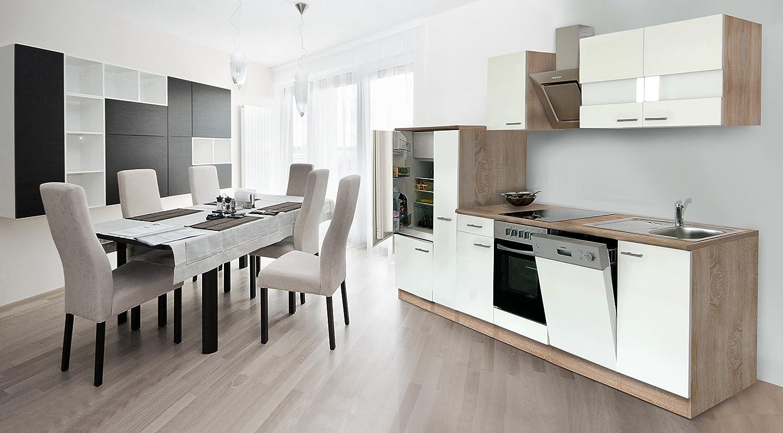 respekta Economy Küchenzeile 310 cm Eiche Sonoma Sägerau Front Weiss inkl. Designer-Schräghaube