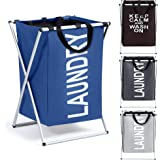 Smile Mom Laundry Basket/Bag/Hamper for Clothes with Foldable Aluminium Frame, Best for Home Bathroom Bedroom (Blue)