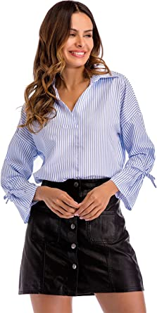 Manga Larga Bajo de Volante Volantes Mangas de la Trompeta Acampanada Acampanadas Lazo Lazada Nudo Escote Triangular en V con Rayas Blouse Blusón Blusa Shirt Camisa Top: Amazon.es: Ropa y accesorios
