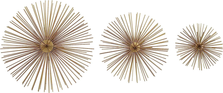 "Deco 79 50370 Metallic Gold Starburst Metal Wall Decor, 3D Wall Art, Modern Wall Decor, Gold Orbs for Wall, Gold Decor, Decorating Ideas | Set of 3: 12"", 9"", 6"""