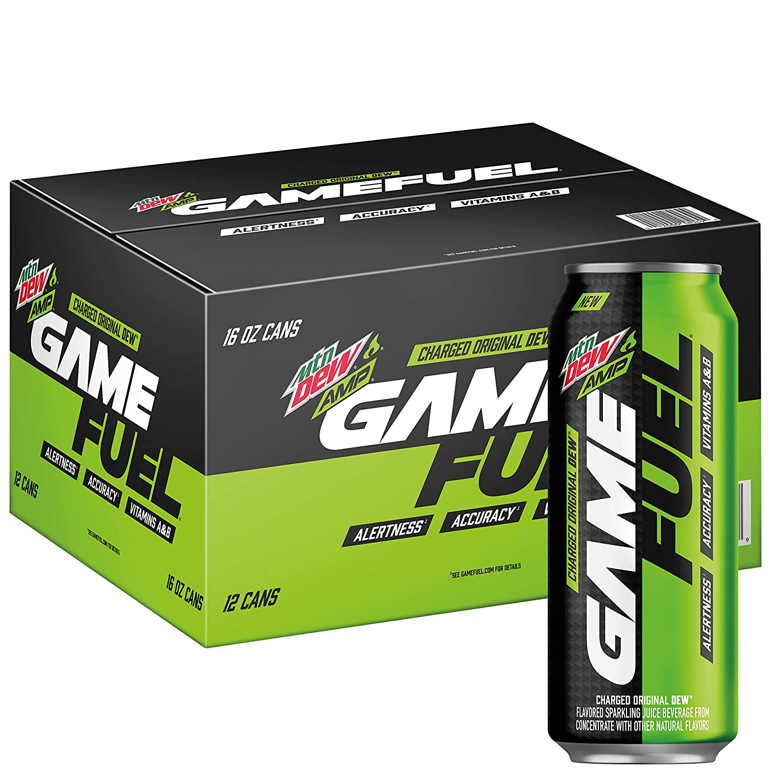 Mountain Dew Amp Game Fuel Charged Original Dew 16 Fl Oz Cans 12 Pack